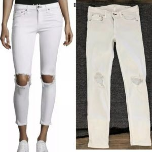 Rag & bone ripped knee white skinny jeans sz 28